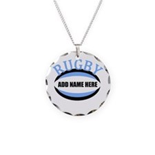 Rugby Add Name Light Blue Necklace
