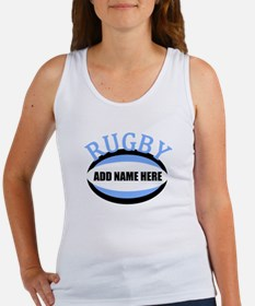 Rugby Add Name Light Blue Women's Tank Top