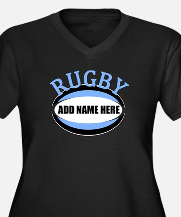 Rugby Add Name Light Blue Women's Plus Size V-Neck