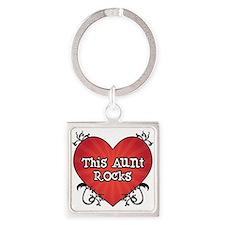Tattoo Heart Aunt Rocks Square Keychain