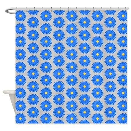 Blue Floral Pattern Shower Curtain By Metarla2