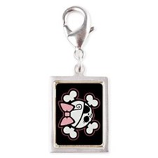 Dolly Bow II Silver Portrait Charm