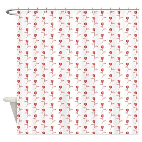 Pattern Of Red Roses. Shower Curtain