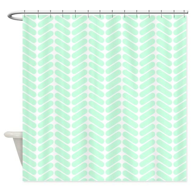 Mint green zigzag pattern shower curtain by metarla2 - Green curtain patterns ...