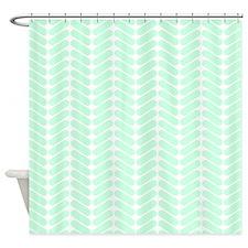Mint Green Zigzag Pattern. Shower Curtain
