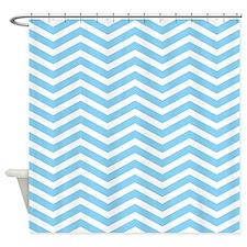Baby Blue Zigzag Shower Curtain