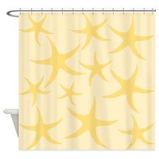 Yellow Starfish Pattern. Shower Curtain