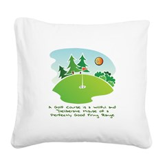 The Golf Course Square Canvas Pillow