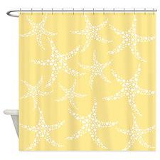 Dotty Starfish, Yellow. Shower Curtain