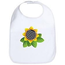 Gingham Sunflower Bib