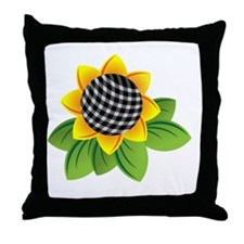 Gingham Sunflower Throw Pillow