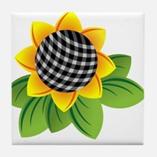 Gingham Sunflower Tile Coaster