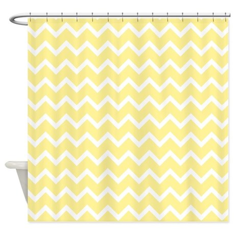 Gifts chevron bathroom d 233 cor light yellow zigzags shower curtain