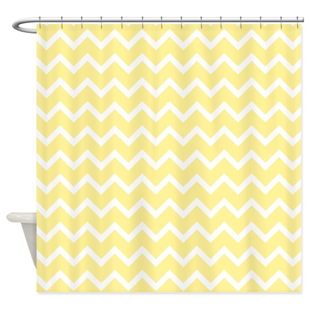 Light Yellow Zigzags Shower Curtain By Metarla