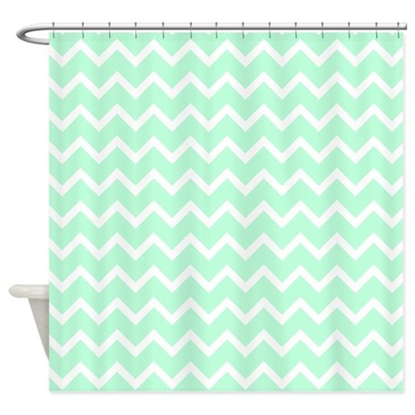 Mint Green Zigzags Shower Curtain By Metarla