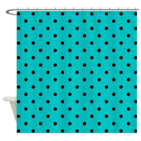 Teal And Black Polka Dot Shower Curtain By Metarla