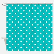 Teal dot pattern. Shower Curtain