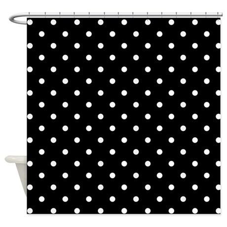 black and white polka dot shower curtain by metarla