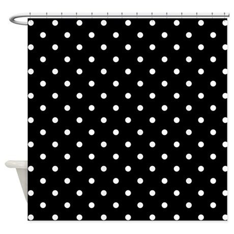 black and white polka dot shower curtain by metarla. Black Bedroom Furniture Sets. Home Design Ideas