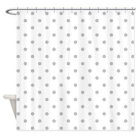 Light Gray Dot Pattern Shower Curtain By Metarla