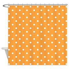 Orange and White Dot Design. Shower Curtain