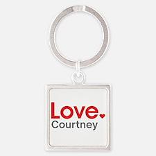 Love Courtney Square Keychain