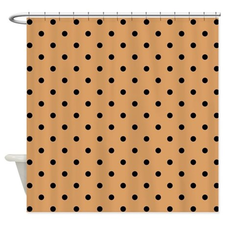 Brown And Black Polka Dot Shower Curtain By Metarla