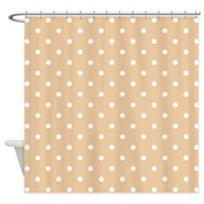 Beige and White Dot Design. Shower Curtain