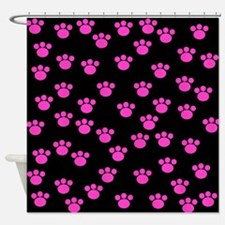 Black and bright pink paw print pattern Shower Cur