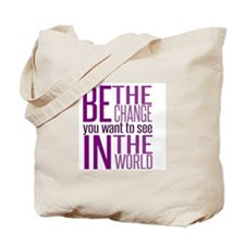 Be The Change (Purple) Tote Bag