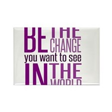 Be The Change (Purple) Rectangle Magnet