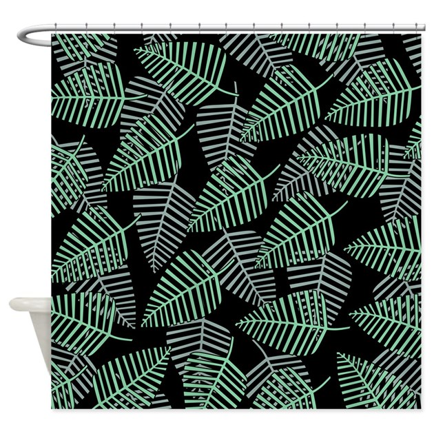 Teal Green Leaf Pattern Shower Curtain By Metarla