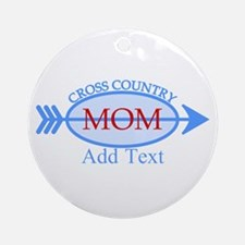 Cross Country Mom Blue Text Ornament (Round)
