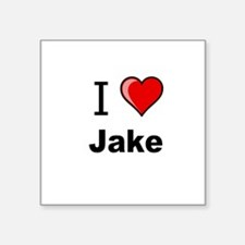 "I love Jake heart tee Square Sticker 3"" x 3"""