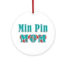 Min Pin Mom Hearts Ornament (Round)