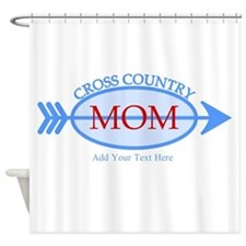 Cross Country Mom Blue Text Shower Curtain