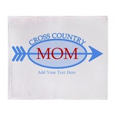 Cross Country Mom Blue Text Throw Blanket