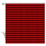 Red and Black Wavy Design Shower Curtain