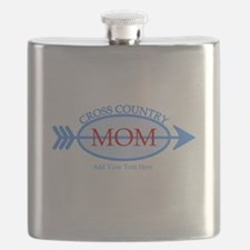 Cross Country Mom Blue Text Flask