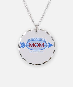 Cross Country Mom Blue Text Necklace