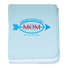 Cross Country Mom Blue Text baby blanket
