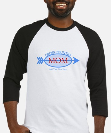 Cross Country Mom Blue Text Baseball Jersey