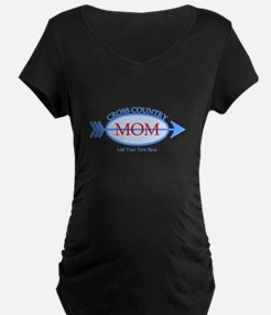 Cross Country Mom Blue Text Maternity T-Shirt