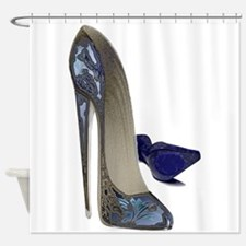 Blue Stiletto Shoes Art Shower Curtain