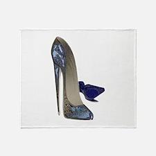 Blue Stiletto Shoes Art Throw Blanket