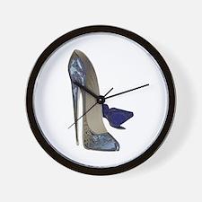 Blue Stiletto Shoes Art Wall Clock