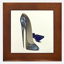 Blue Stiletto Shoes Art Framed Tile
