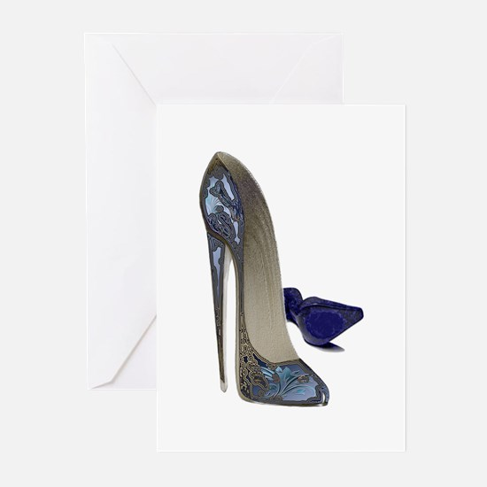 Blue Stiletto Shoes Art Greeting Cards (Pk of 20)