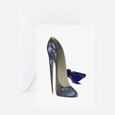 Blue Stiletto Shoes Art Greeting Card