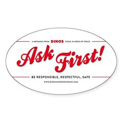 Ask First! Sticker (Oval)